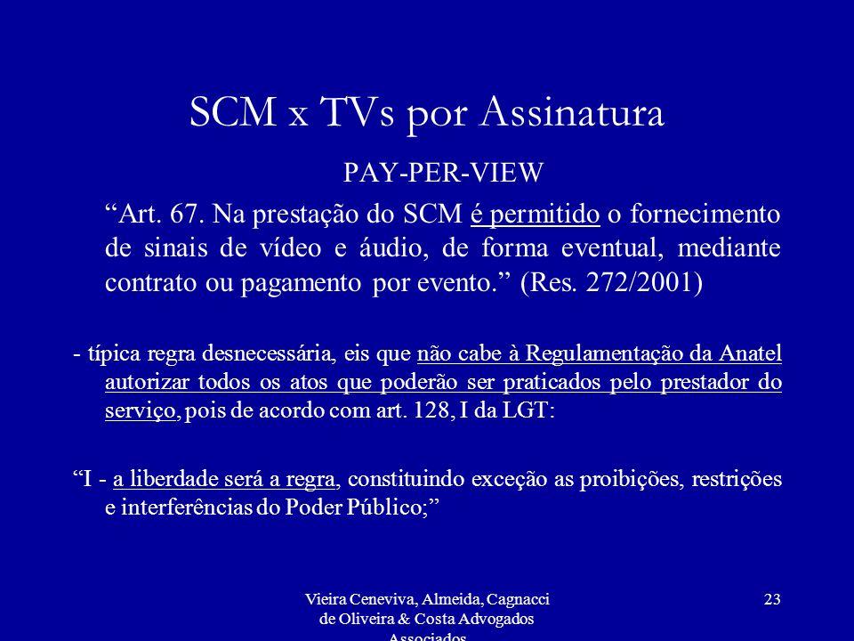 Vieira Ceneviva, Almeida, Cagnacci de Oliveira & Costa Advogados Associados 23 SCM x TVs por Assinatura PAY-PER-VIEW Art. 67. Na prestação do SCM é pe