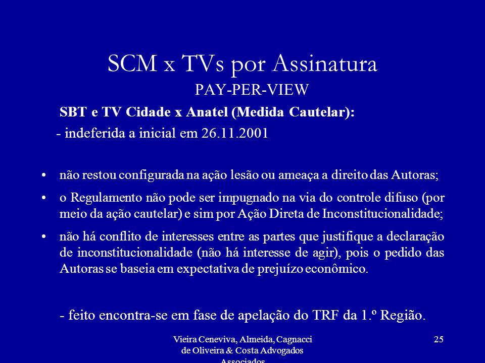 Vieira Ceneviva, Almeida, Cagnacci de Oliveira & Costa Advogados Associados 25 SCM x TVs por Assinatura PAY-PER-VIEW SBT e TV Cidade x Anatel (Medida