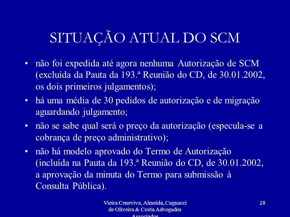 Vieira Ceneviva, Almeida, Cagnacci de Oliveira & Costa Advogados Associados 28 SITUAÇÃO ATUAL DO SCM não foi expedida até agora nenhuma Autorização de