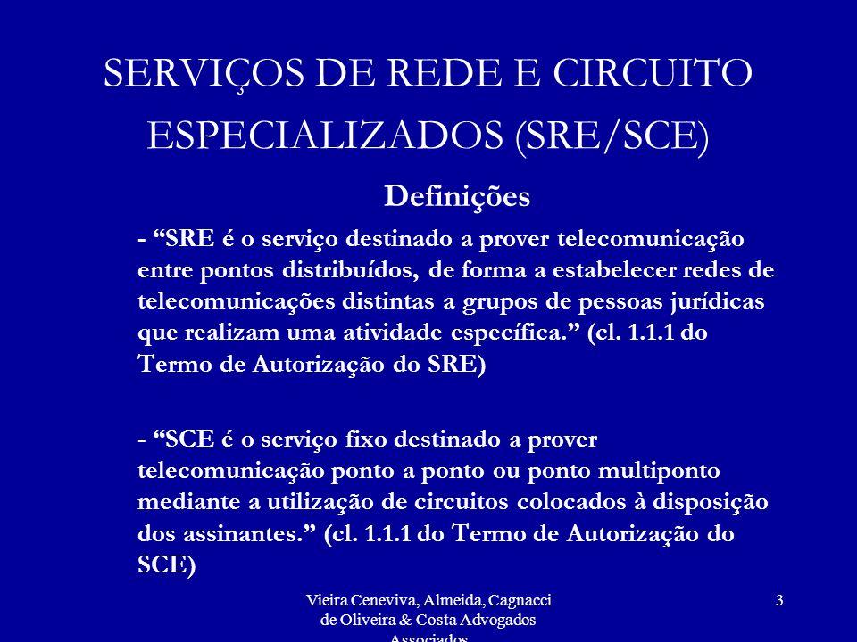 Vieira Ceneviva, Almeida, Cagnacci de Oliveira & Costa Advogados Associados 3 SERVIÇOS DE REDE E CIRCUITO ESPECIALIZADOS (SRE/SCE) Definições - SRE é