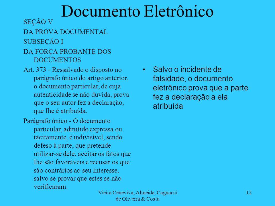 Vieira Ceneviva, Almeida, Cagnacci de Oliveira & Costa 12 Documento Eletrônico SEÇÃO V DA PROVA DOCUMENTAL SUBSEÇÃO I DA FORÇA PROBANTE DOS DOCUMENTOS