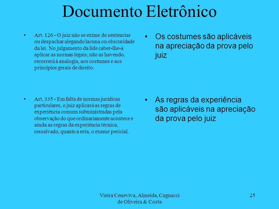 Vieira Ceneviva, Almeida, Cagnacci de Oliveira & Costa 25 Documento Eletrônico Art. 126 - O juiz não se exime de sentenciar ou despachar alegando lacu