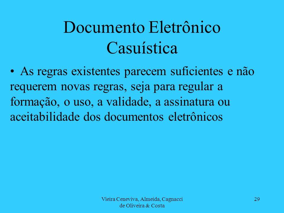 Vieira Ceneviva, Almeida, Cagnacci de Oliveira & Costa 29 Documento Eletrônico Casuística As regras existentes parecem suficientes e não requerem nova