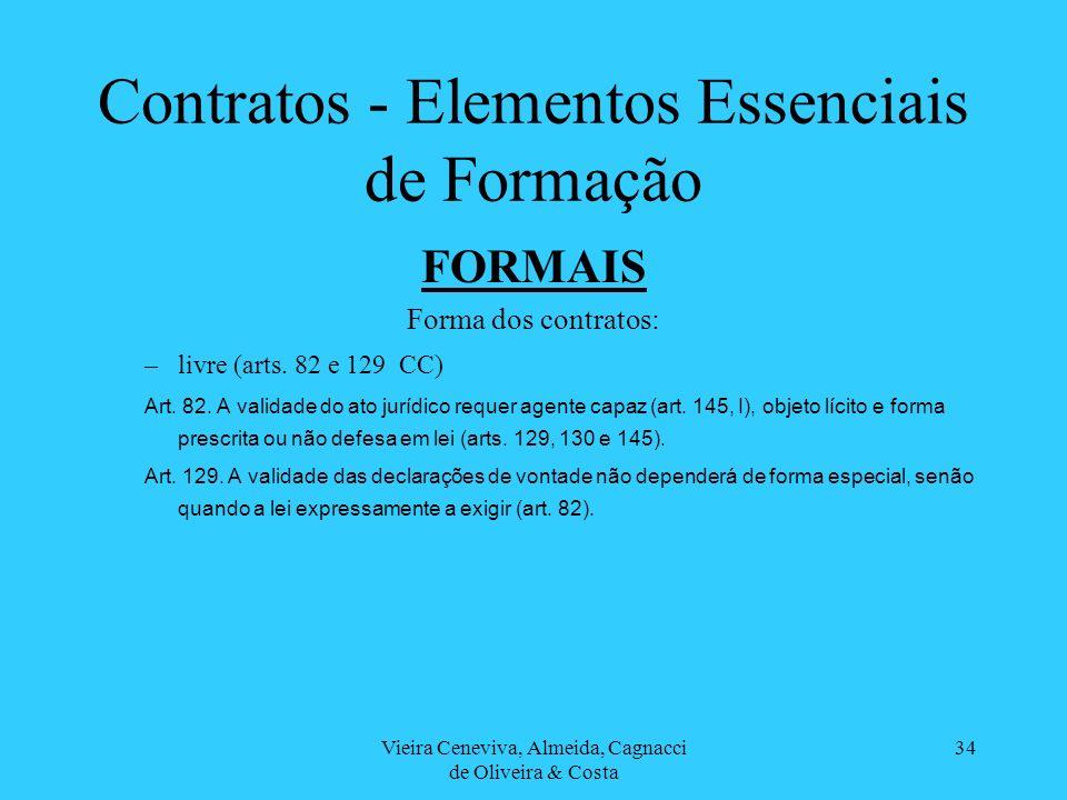 Vieira Ceneviva, Almeida, Cagnacci de Oliveira & Costa 34 Contratos - Elementos Essenciais de Formação FORMAIS Forma dos contratos: –livre (arts. 82 e