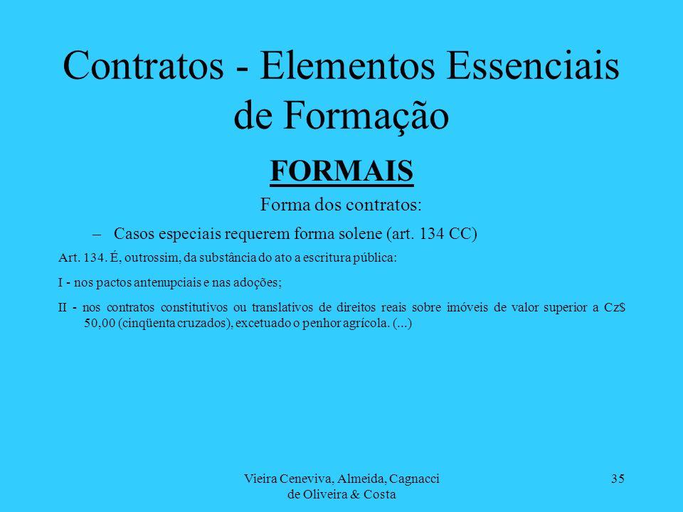 Vieira Ceneviva, Almeida, Cagnacci de Oliveira & Costa 35 Contratos - Elementos Essenciais de Formação FORMAIS Forma dos contratos: –Casos especiais r