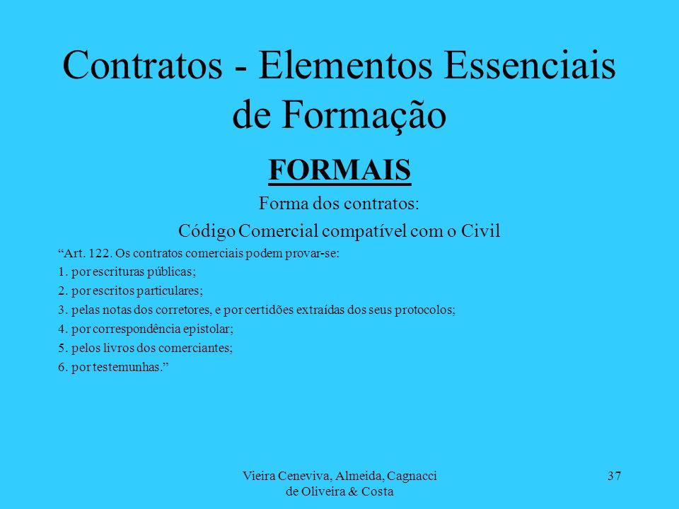 Vieira Ceneviva, Almeida, Cagnacci de Oliveira & Costa 37 Contratos - Elementos Essenciais de Formação FORMAIS Forma dos contratos: Código Comercial c