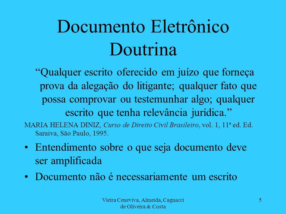 Vieira Ceneviva, Almeida, Cagnacci de Oliveira & Costa 5 Documento Eletrônico Doutrina Qualquer escrito oferecido em juízo que forneça prova da alegaç
