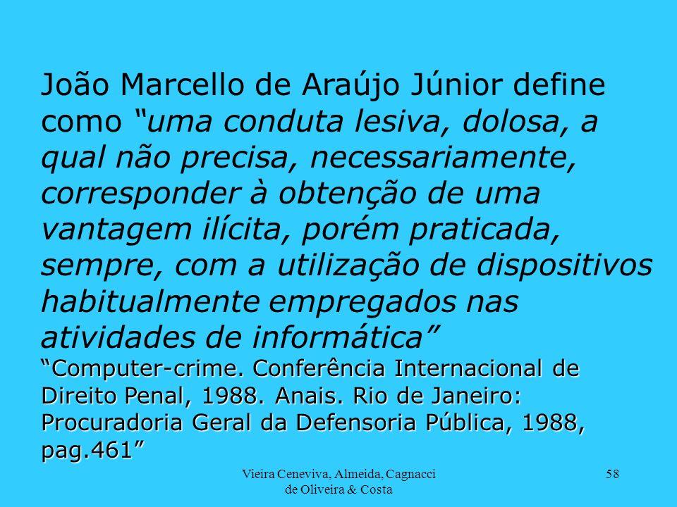 Vieira Ceneviva, Almeida, Cagnacci de Oliveira & Costa 58 João Marcello de Araújo Júnior define como uma conduta lesiva, dolosa, a qual não precisa, n
