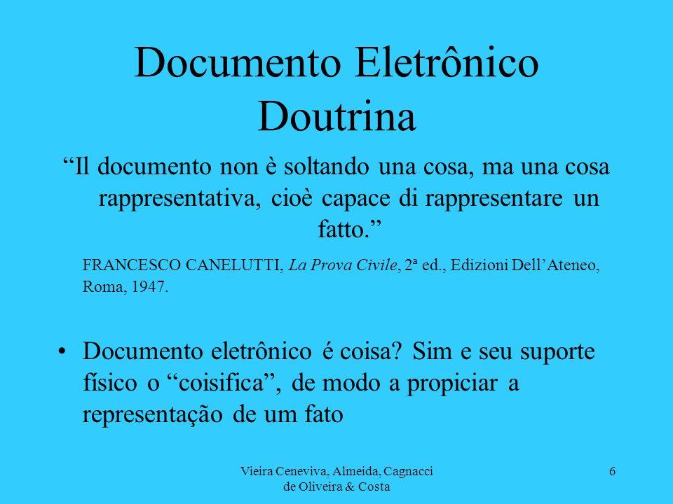 Vieira Ceneviva, Almeida, Cagnacci de Oliveira & Costa 6 Documento Eletrônico Doutrina Il documento non è soltando una cosa, ma una cosa rappresentati