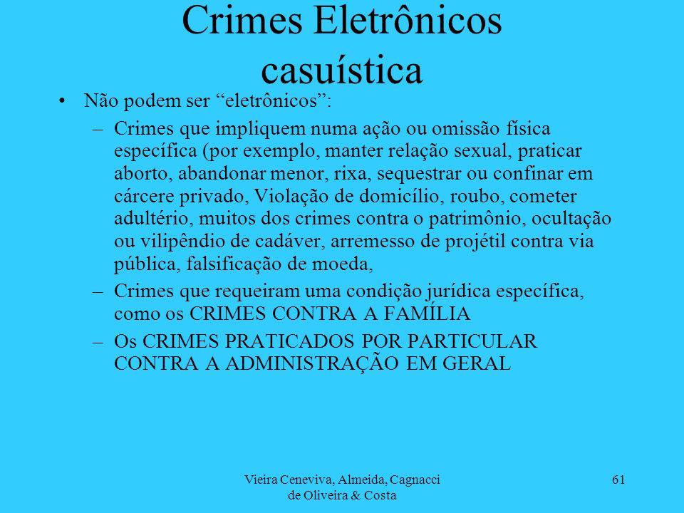 Vieira Ceneviva, Almeida, Cagnacci de Oliveira & Costa 61 Crimes Eletrônicos casuística Não podem ser eletrônicos: –Crimes que impliquem numa ação ou