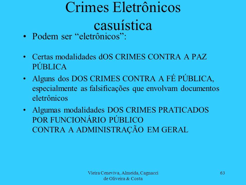 Vieira Ceneviva, Almeida, Cagnacci de Oliveira & Costa 63 Crimes Eletrônicos casuística Podem ser eletrônicos: Certas modalidades dOS CRIMES CONTRA A