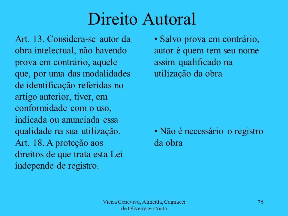 Vieira Ceneviva, Almeida, Cagnacci de Oliveira & Costa 76 Direito Autoral Art. 13. Considera-se autor da obra intelectual, não havendo prova em contrá