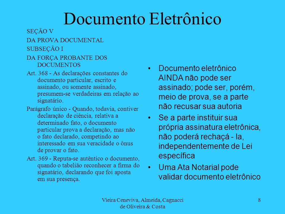 Vieira Ceneviva, Almeida, Cagnacci de Oliveira & Costa 8 Documento Eletrônico SEÇÃO V DA PROVA DOCUMENTAL SUBSEÇÃO I DA FORÇA PROBANTE DOS DOCUMENTOS