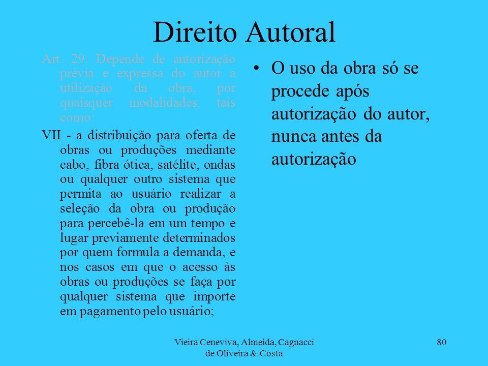 Vieira Ceneviva, Almeida, Cagnacci de Oliveira & Costa 80 Direito Autoral O uso da obra só se procede após autorização do autor, nunca antes da autori