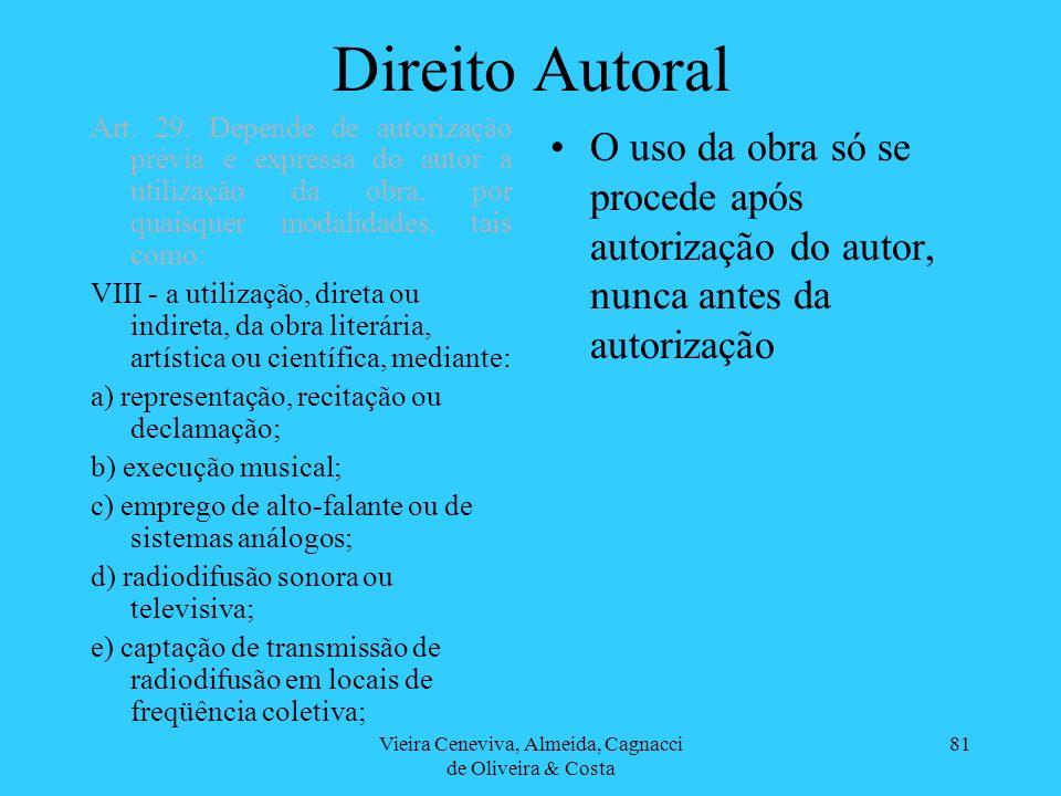 Vieira Ceneviva, Almeida, Cagnacci de Oliveira & Costa 81 Direito Autoral O uso da obra só se procede após autorização do autor, nunca antes da autori