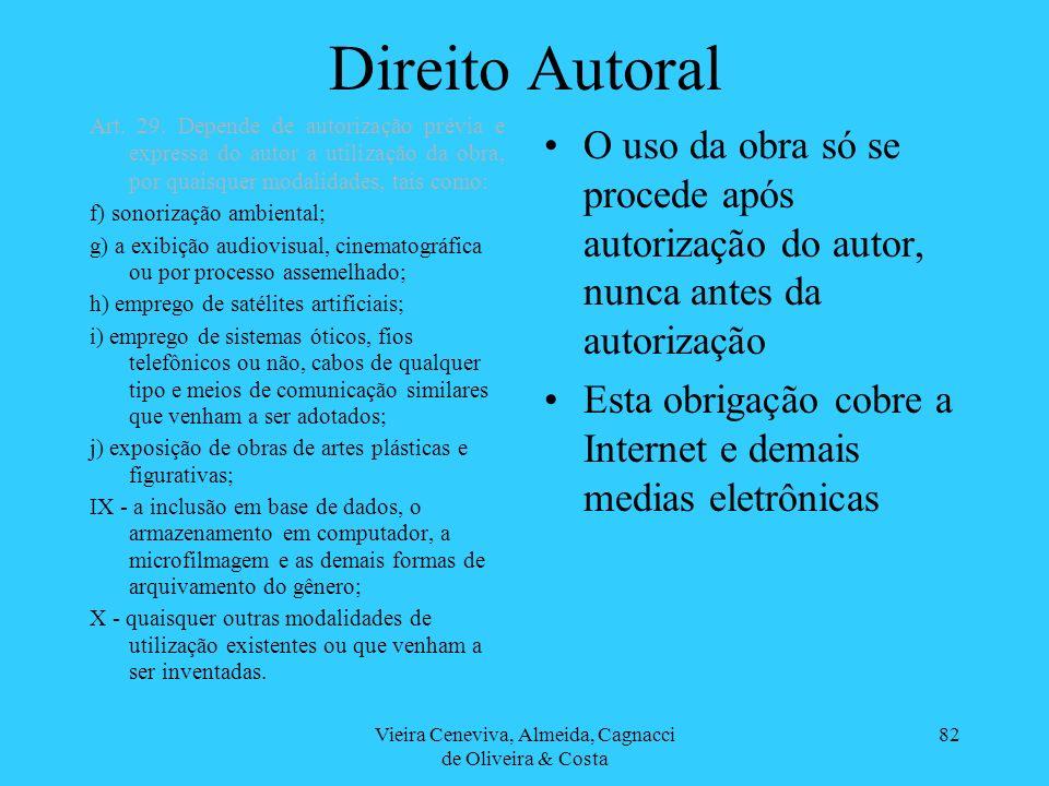 Vieira Ceneviva, Almeida, Cagnacci de Oliveira & Costa 82 Direito Autoral O uso da obra só se procede após autorização do autor, nunca antes da autori