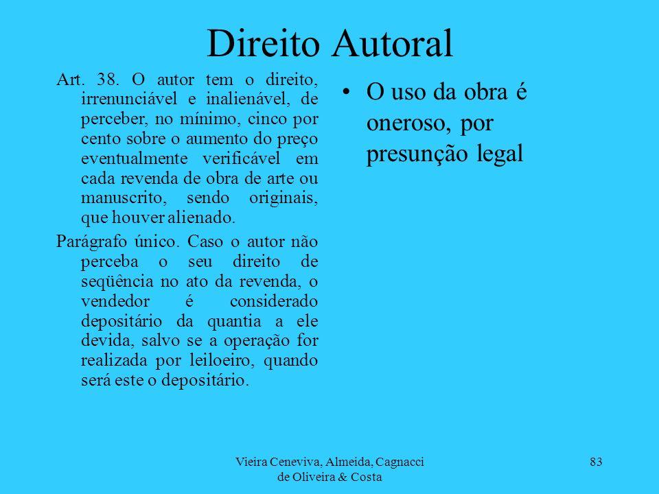 Vieira Ceneviva, Almeida, Cagnacci de Oliveira & Costa 83 Direito Autoral O uso da obra é oneroso, por presunção legal Art. 38. O autor tem o direito,