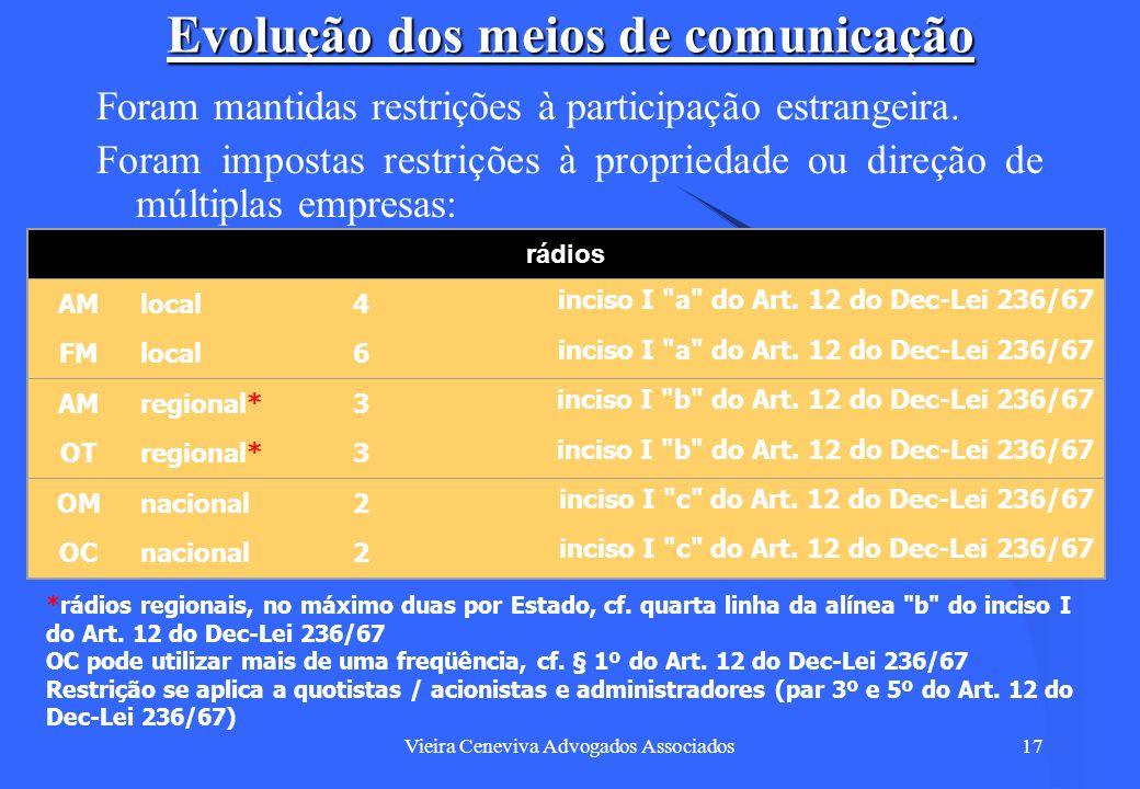 Vieira Ceneviva Advogados Associados17 Evolução dos meios de comunicação Foram mantidas restrições à participação estrangeira. Foram impostas restriçõ