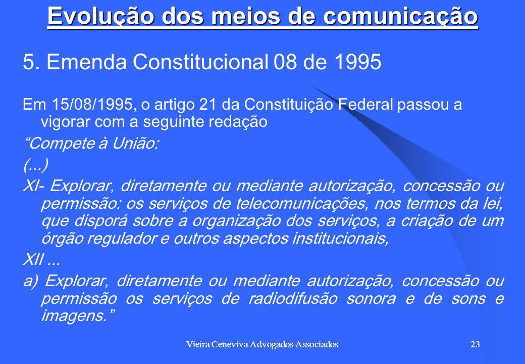 Vieira Ceneviva Advogados Associados23 Evolução dos meios de comunicação 5. Emenda Constitucional 08 de 1995 Em 15/08/1995, o artigo 21 da Constituiçã