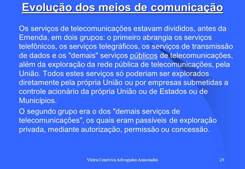 Vieira Ceneviva Advogados Associados25 Evolução dos meios de comunicação Os serviços de telecomunicações estavam divididos, antes da Emenda, em dois g