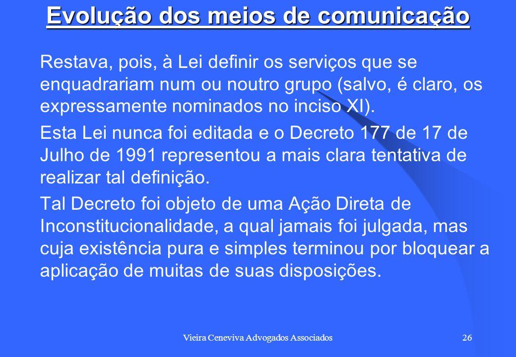 Vieira Ceneviva Advogados Associados26 Evolução dos meios de comunicação Restava, pois, à Lei definir os serviços que se enquadrariam num ou noutro gr