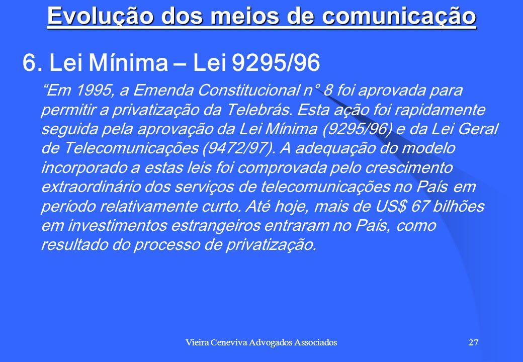 Vieira Ceneviva Advogados Associados27 Evolução dos meios de comunicação 6. Lei Mínima – Lei 9295/96 Em 1995, a Emenda Constitucional n° 8 foi aprovad