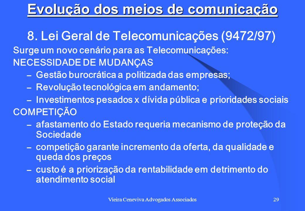 Vieira Ceneviva Advogados Associados29 Evolução dos meios de comunicação 8. Lei Geral de Telecomunicações (9472/97) Surge um novo cenário para as Tele