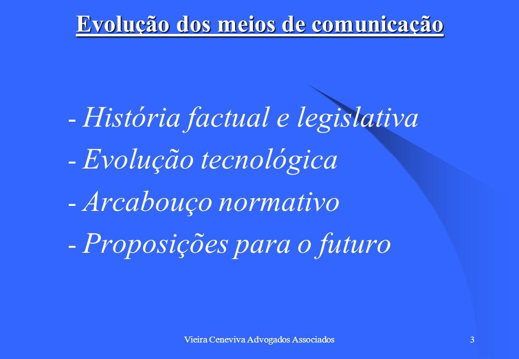 Vieira Ceneviva Advogados Associados14 Evolução dos meios de comunicação – O Código assim definiu os serviços de telecomunicações: – Art.