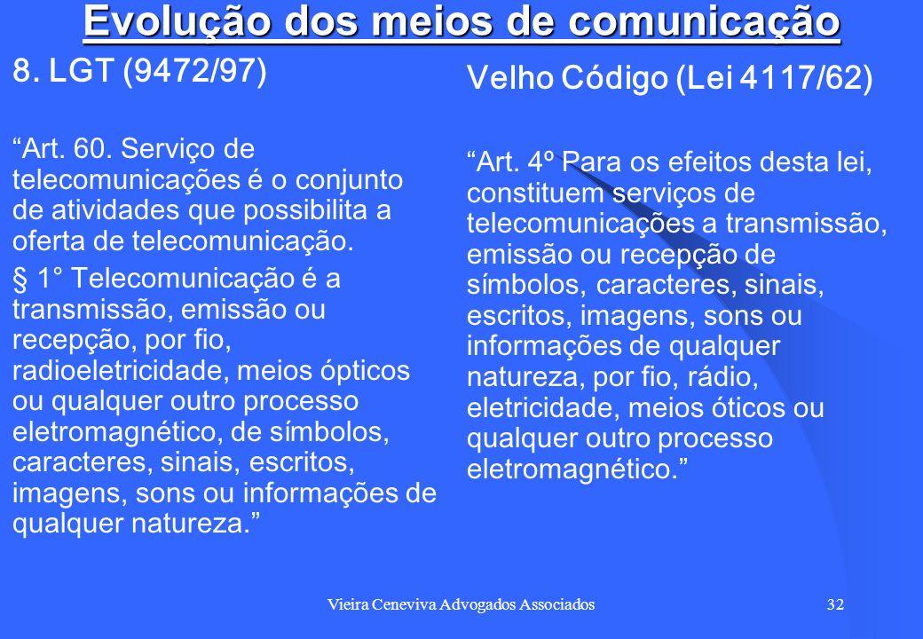 Vieira Ceneviva Advogados Associados32 Evolução dos meios de comunicação 8. LGT (9472/97) Art. 60. Serviço de telecomunicações é o conjunto de ativida