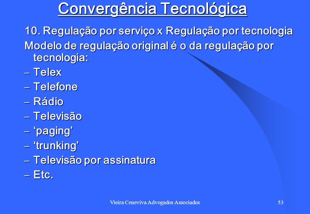 Vieira Ceneviva Advogados Associados53 Convergência Tecnológica 10. Regulação por serviço x Regulação por tecnologia Modelo de regulação original é o