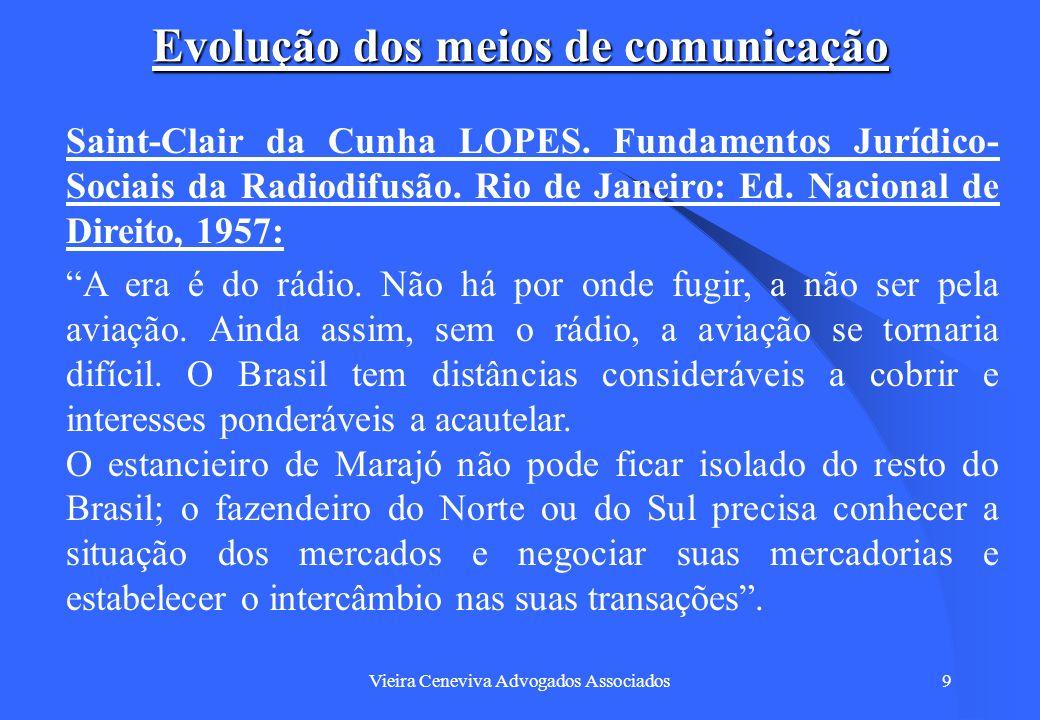 Vieira Ceneviva Advogados Associados10 Evolução dos meios de comunicação Saint-Clair da Cunha LOPES.