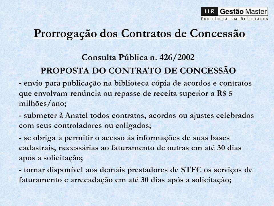 Prorrogação dos Contratos de Concessão Consulta Pública n. 426/2002 PROPOSTA DO CONTRATO DE CONCESSÃO - envio para publicação na biblioteca cópia de a