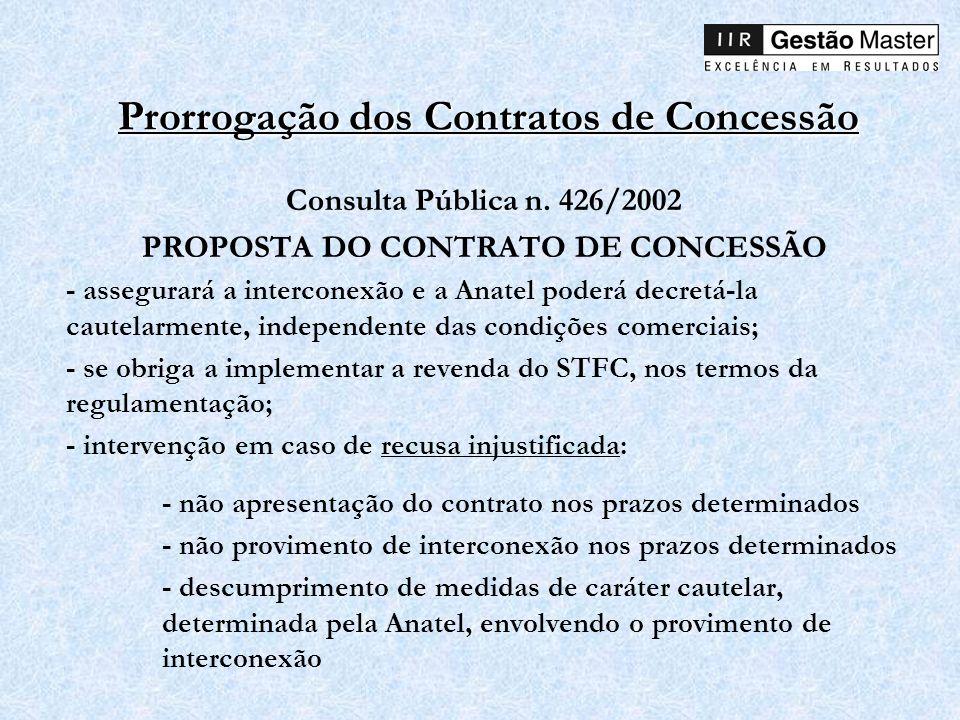 Prorrogação dos Contratos de Concessão Consulta Pública n. 426/2002 PROPOSTA DO CONTRATO DE CONCESSÃO - assegurará a interconexão e a Anatel poderá de