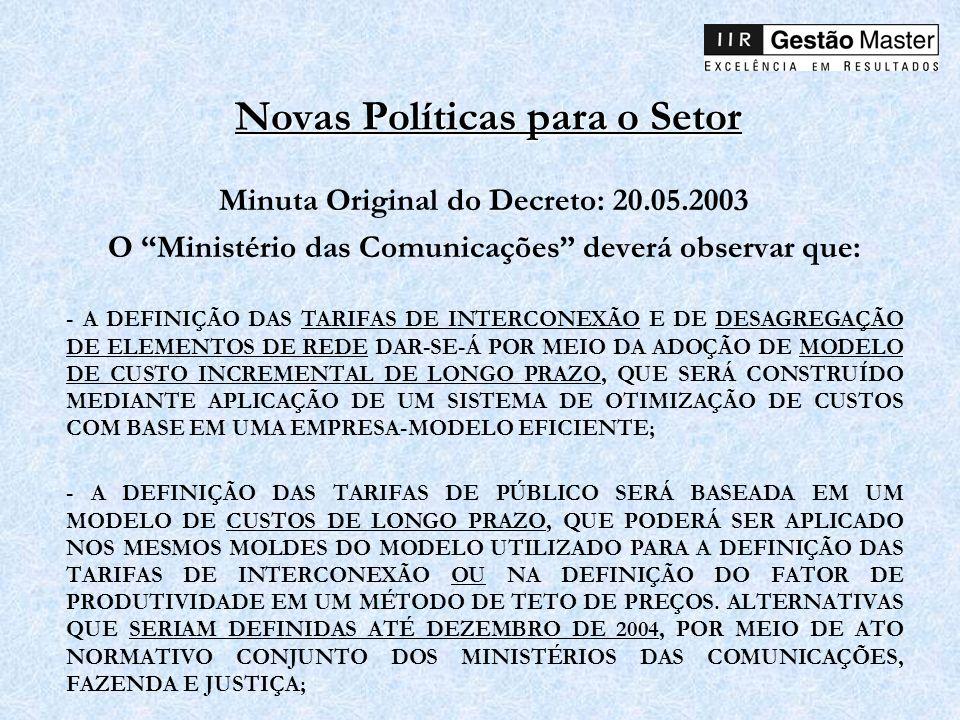 Novas Políticas para o Setor Minuta Original do Decreto: 20.05.2003 O Ministério das Comunicações deverá observar que: - A DEFINIÇÃO DAS TARIFAS DE IN