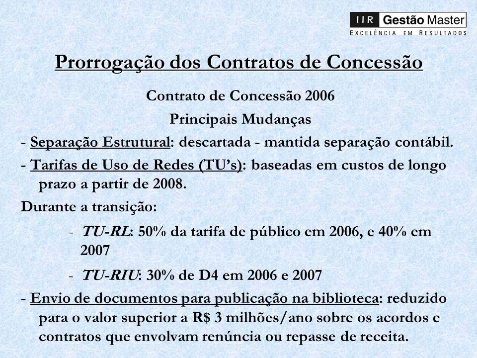 Prorrogação dos Contratos de Concessão Contrato de Concessão 2006 Principais Mudanças - Separação Estrutural: descartada - mantida separação contábil.