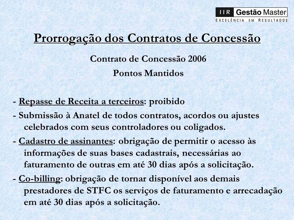 Prorrogação dos Contratos de Concessão Contrato de Concessão 2006 Pontos Mantidos - Repasse de Receita a terceiros: proibido - Submissão à Anatel de t