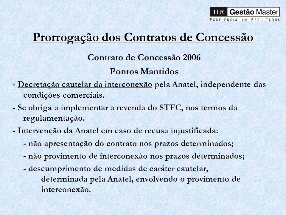 Prorrogação dos Contratos de Concessão Contrato de Concessão 2006 Pontos Mantidos - Decretação cautelar da interconexão pela Anatel, independente das