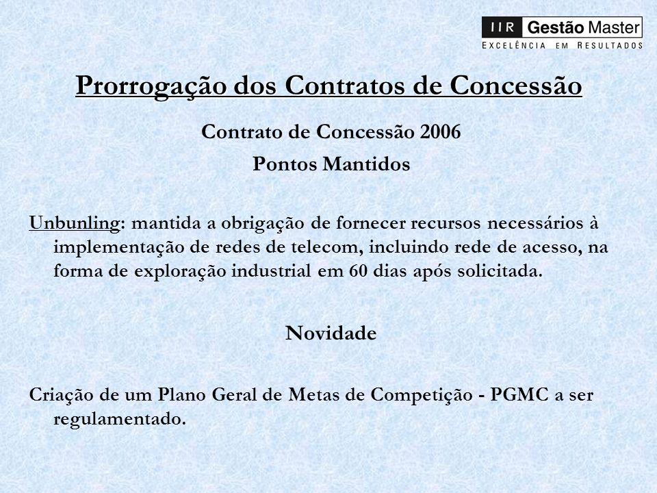 Prorrogação dos Contratos de Concessão Contrato de Concessão 2006 Pontos Mantidos Unbunling: mantida a obrigação de fornecer recursos necessários à im