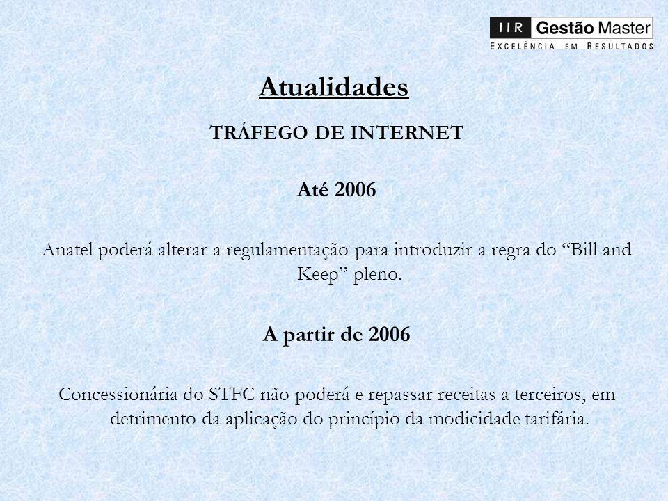 Atualidades TRÁFEGO DE INTERNET Até 2006 Anatel poderá alterar a regulamentação para introduzir a regra do Bill and Keep pleno. A partir de 2006 Conce