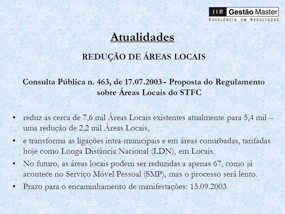 Atualidades REDUÇÃO DE ÁREAS LOCAIS Consulta Pública n. 463, de 17.07.2003 - Proposta do Regulamento sobre Áreas Locais do STFC reduz as cerca de 7,6
