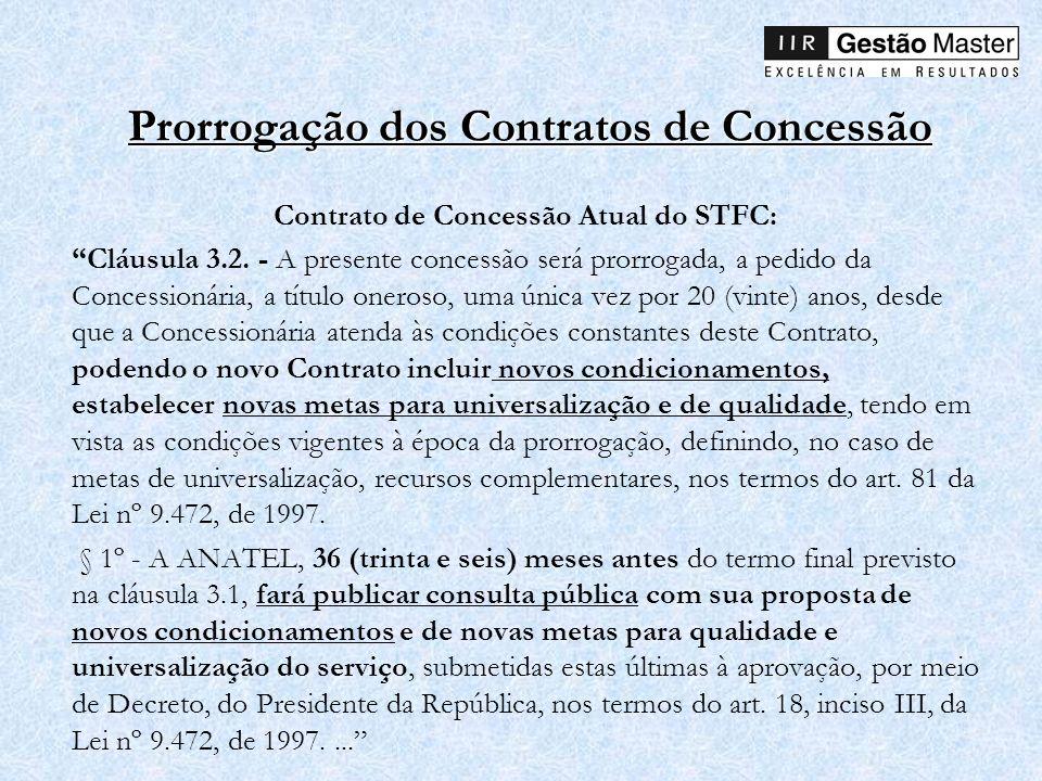 Prorrogação dos Contratos de Concessão Contrato de Concessão Atual do STFC: Cláusula 3.2. - A presente concessão será prorrogada, a pedido da Concessi