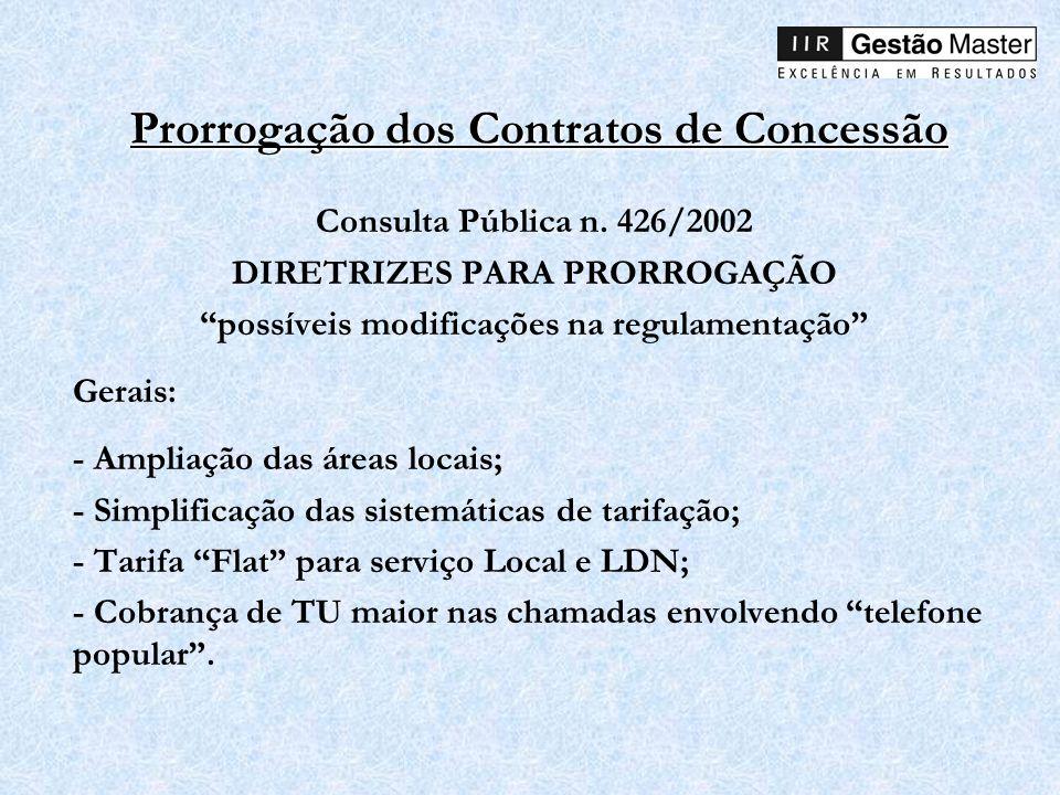 Prorrogação dos Contratos de Concessão Consulta Pública n. 426/2002 DIRETRIZES PARA PRORROGAÇÃO possíveis modificações na regulamentação Gerais: - Amp