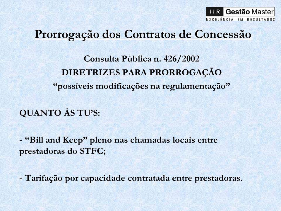 Prorrogação dos Contratos de Concessão Consulta Pública n. 426/2002 DIRETRIZES PARA PRORROGAÇÃO possíveis modificações na regulamentação QUANTO ÀS TUS
