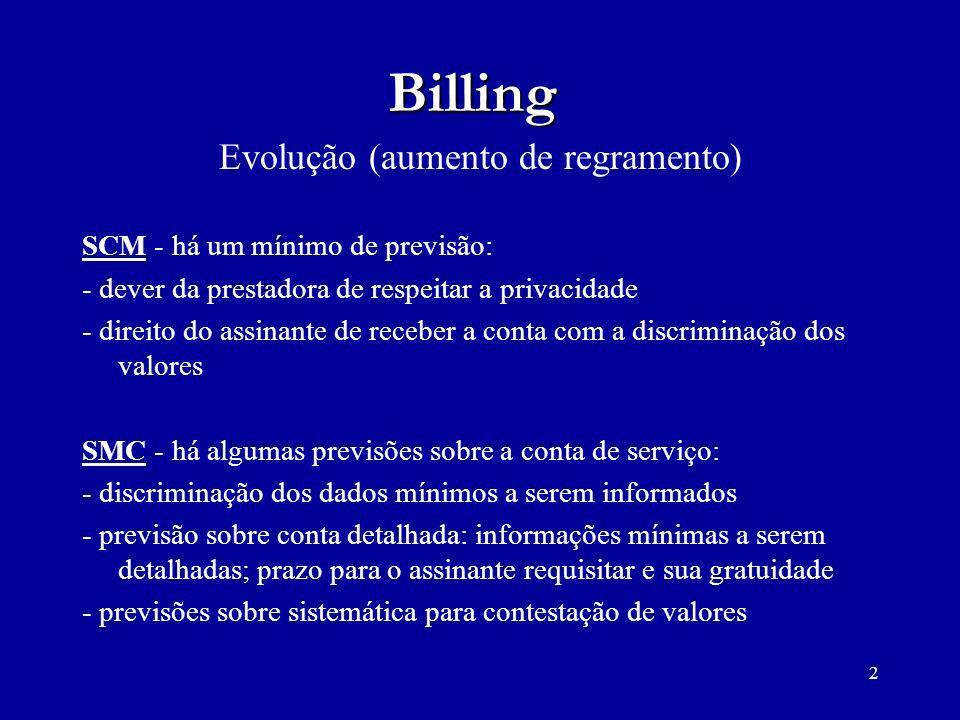 2 Billing Evolução (aumento de regramento) SCM - há um mínimo de previsão: - dever da prestadora de respeitar a privacidade - direito do assinante de