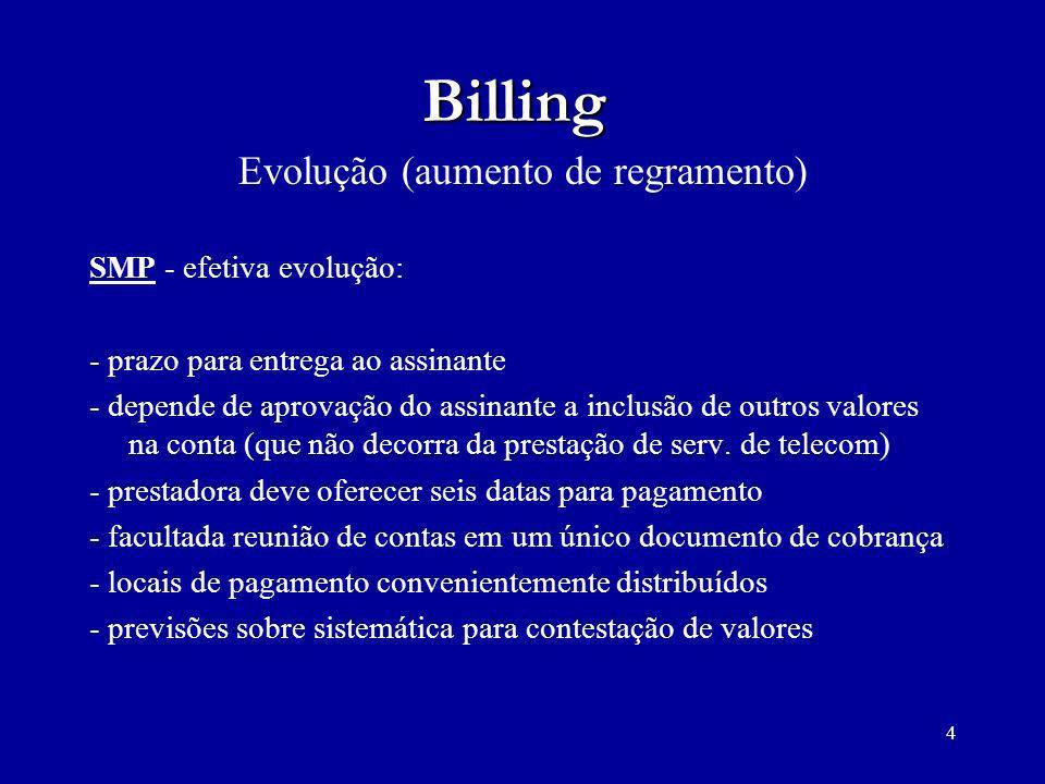 4 Billing Evolução (aumento de regramento) SMP - efetiva evolução: - prazo para entrega ao assinante - depende de aprovação do assinante a inclusão de