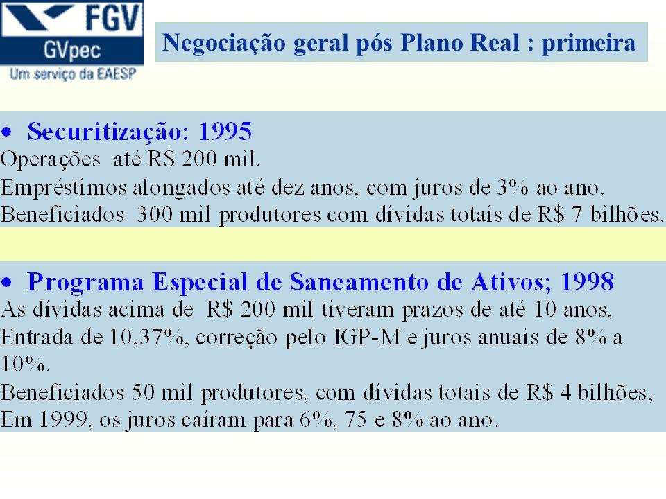 Negociação geral pós Plano Real : primeira