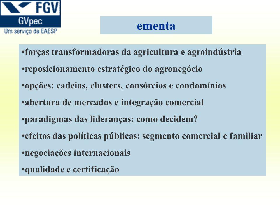 ementa forças transformadoras da agricultura e agroindústria reposicionamento estratégico do agronegócio opções: cadeias, clusters, consórcios e condo