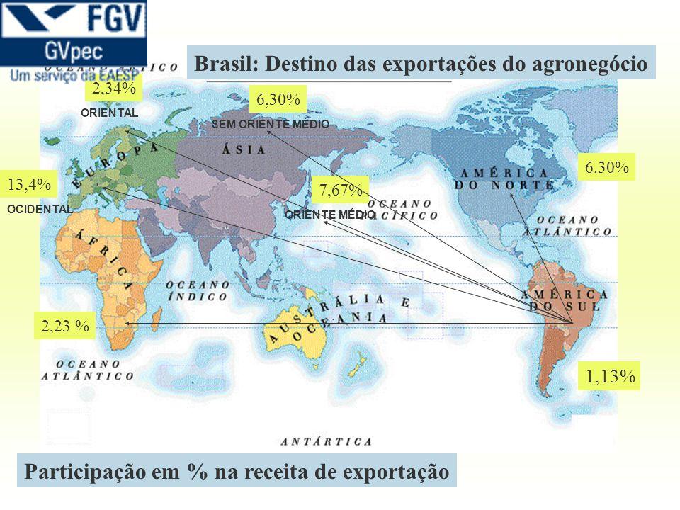 1,13% 6.30% 7,67% 6,30% 2,34% 13,4% 2,23 % Brasil: Destino das exportações do agronegócio OCIDENTAL ORIENTAL ORIENTE MÉDIO SEM ORIENTE MÉDIO Participa