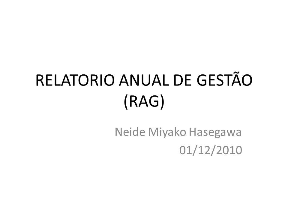 RELATORIO ANUAL DE GESTÃO (RAG) Neide Miyako Hasegawa 01/12/2010