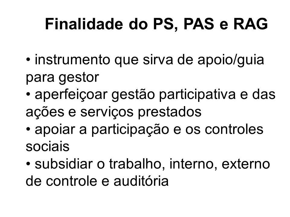 Finalidade do PS, PAS e RAG instrumento que sirva de apoio/guia para gestor aperfeiçoar gestão participativa e das ações e serviços prestados apoiar a participação e os controles sociais subsidiar o trabalho, interno, externo de controle e auditória